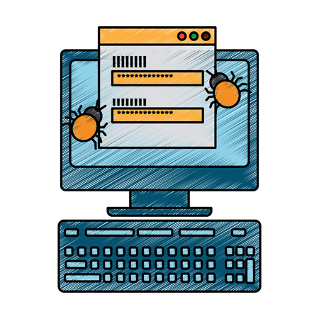 computer with login code virus attack vector illustration drawing design