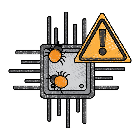 motherboard warning bug virus data hazard vector illustration drawing design Foto de archivo - 96612777
