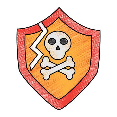 broken shield protection security data digital vector illustration drawing design 版權商用圖片 - 96612786
