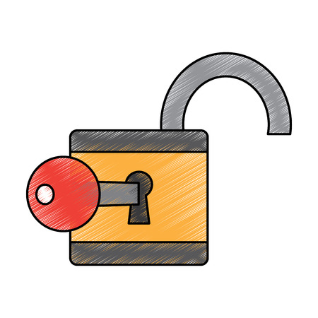 open padlock key security information digital vector illustration drawing design