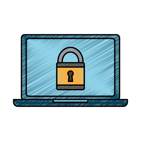 Laptop computer security padlock technology cyber vector illustration drawing design