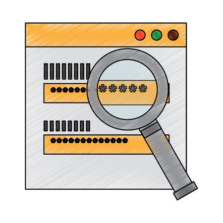 Authentication login code or password security search vector illustration drawing design Illustration