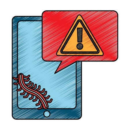 Mobile phone and worm virus message alert vector illustration drawing design Banco de Imagens - 96595745