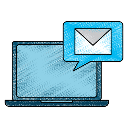 laptop device receiving message chat vector illustration drawing design