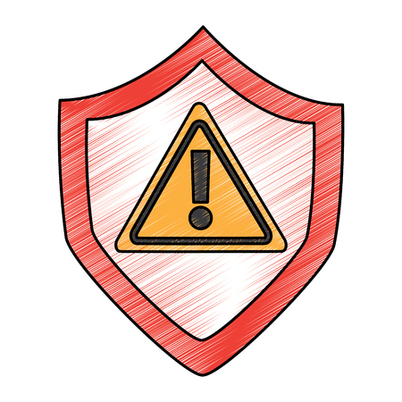 security warnign sign alert problem system technology vector illustration drawing design Ilustração