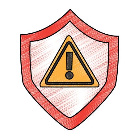 security warnign sign alert problem system technology vector illustration drawing design Illustration