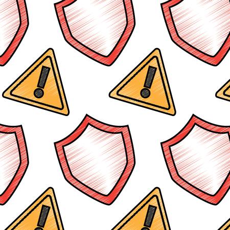 shield protection and warning alert sign digital symbol pattern vector illustration drawing design