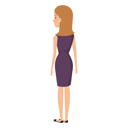 Successful business woman facing backwards avatar character vector illustration design