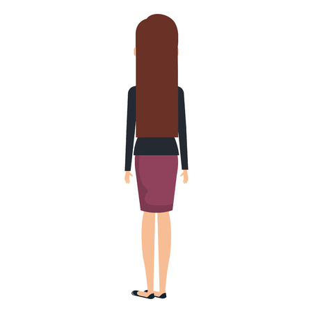 Successful business woman facing back avatar character vector illustration design