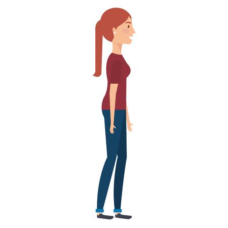 Beautiful girl facing sideways avatar character vector illustration design.
