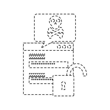 Page code à code avec message de danger pour la sécurité topview illustration vectorielle de conception de ligne Banque d'images - 96595748