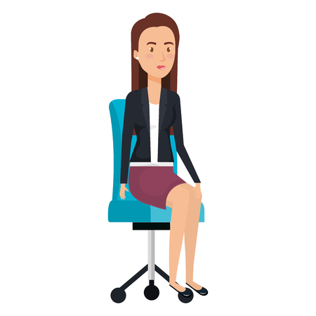 Businesswoman sitting on office chair vector illustration design