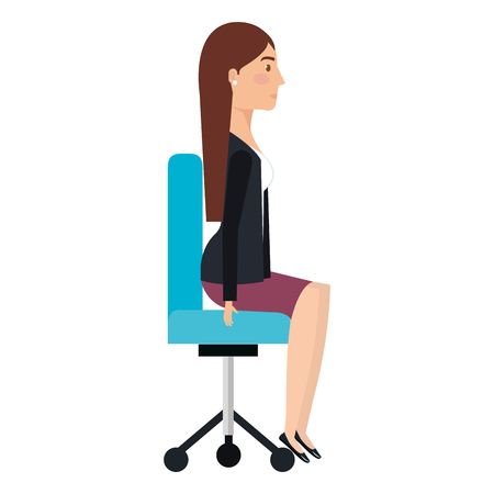 Businesswoman sitting on office chair vector illustration design