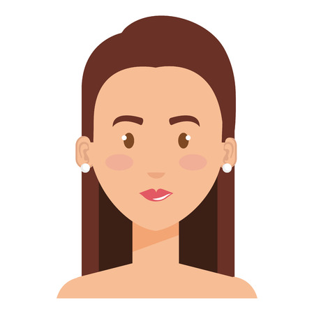 Beautiful and young woman shirtless character vector illustration design