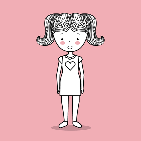 happy young girl cute hand drawn image vector illustration design