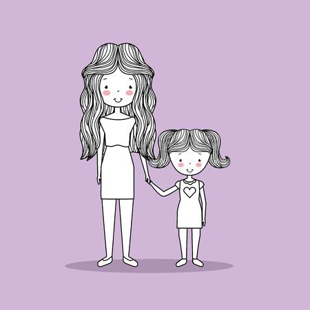 かわいい家族の手描き画像ベクトルイラストデザイン  イラスト・ベクター素材