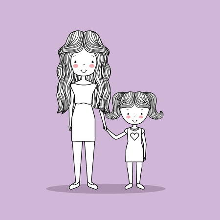 cute family hand drawn image vector illustration design Ilustrace