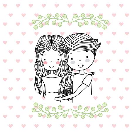 man and woman romantic couple cute hand drawn image vector illustration design