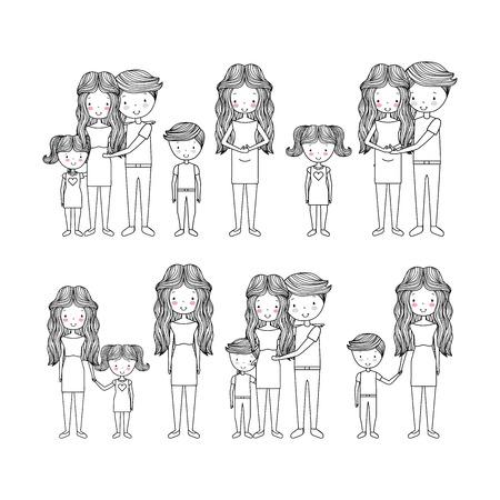 家族の手描き画像ベクトルイラストデザインのかわいいタイプ  イラスト・ベクター素材