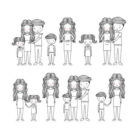 cute types of family hand drawn image vector illustration design Ilustração