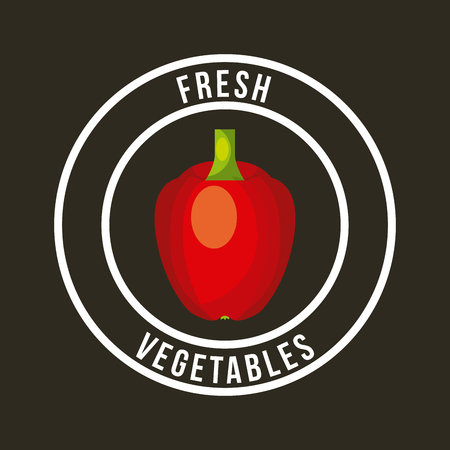 bell pepper fresh organic food emblem image vector illustration design