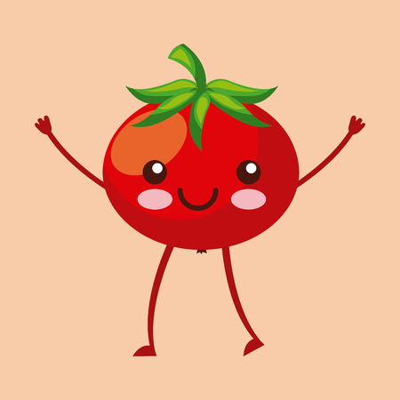 tomato happy fruit  character icon image vector illustration design Vectores