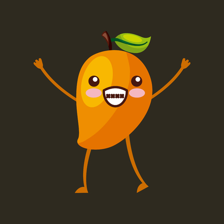 mango happy fruit kawaii character icon image vector illustration design