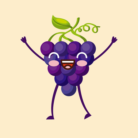 grape happy fruit  character icon image vector illustration design