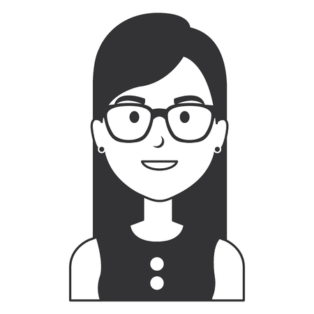 beautiful and young woman with glasses character vector illustration design