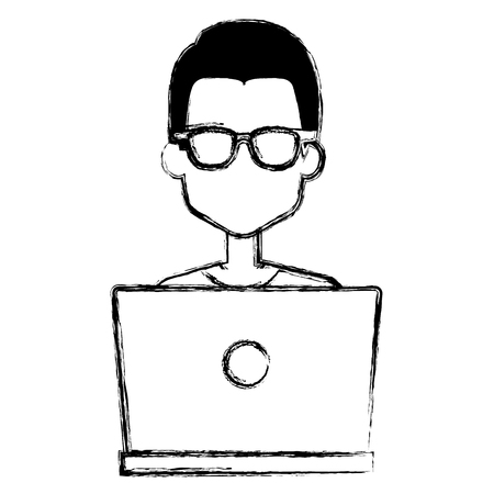 man working in laptop character vector illustration design