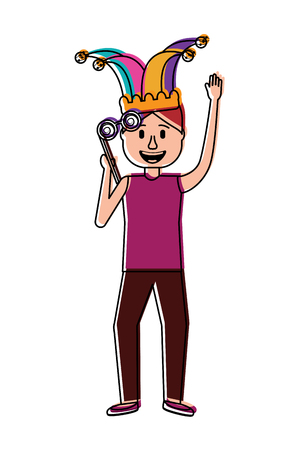 funny man holding silly glasses and jester hat vector illustration