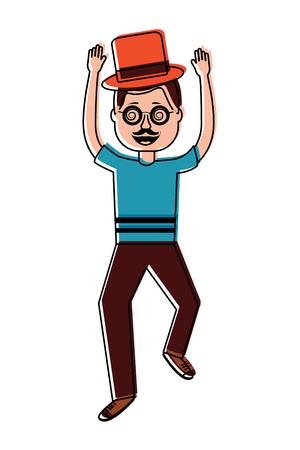 happy man standing wearing mask mustache glasses and hat vector illustration