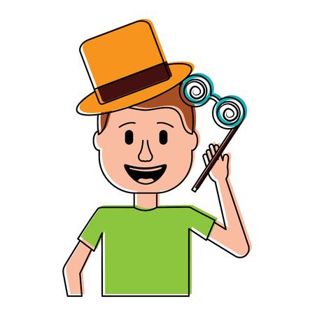 happy man hat and crazy glasses portrait vector illustration Фото со стока - 96620778