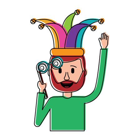 happy man hat and crazy glasses portrait vector illustration Фото со стока - 96618214