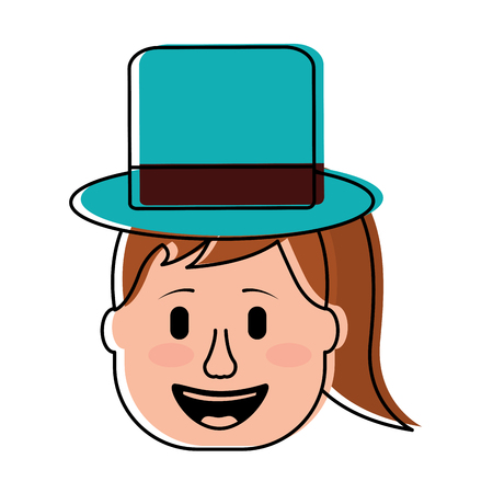laughing face woman with hat enjoy vector illustration 스톡 콘텐츠 - 96618218