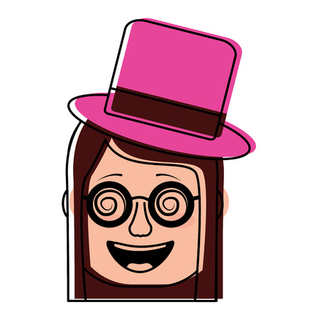 laughing face woman with crazy glasses and hat enjoy vector illustration 일러스트