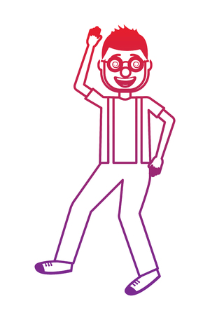 happy man with clown mask glasses and gloves vector illustration gradient color image