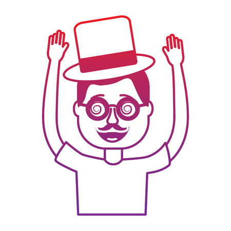 happy man hat and crazy glasses portrait vector illustration gradient color image
