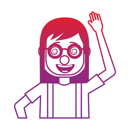 funny smile woman with clown mask silly glasses vector illustration gradient color image