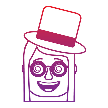 laughing face woman with crazy glasses and hat enjoy vector illustration gradient color image