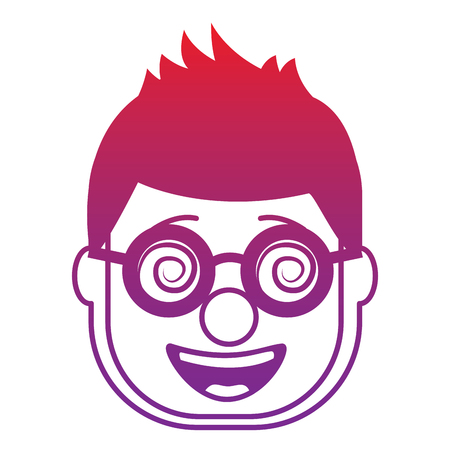smiling face man with glasses and mask clown vector illustration gradient color image