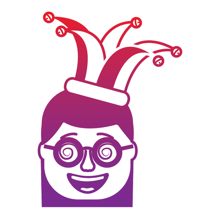laughing face woman with crazy glasses and jester hat enjoy vector illustration gradient color image