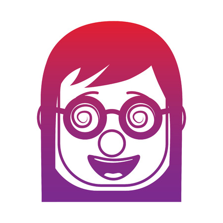 laughing face woman with crazy glasses mask clown enjoy vector illustration gradient color image