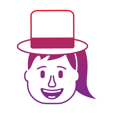 laughing face woman with hat enjoy vector illustration gradient color image Vettoriali