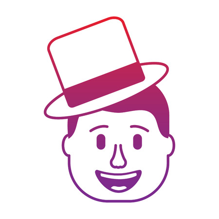 smiling face man with hat happy vector illustration gradient color image Illustration