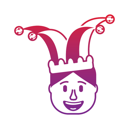 smiling face man with glasses and jester hat vector illustration gradient color image