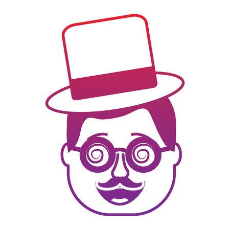 smiling face man with glasses jester hat and mustache vector illustration gradient color image 向量圖像