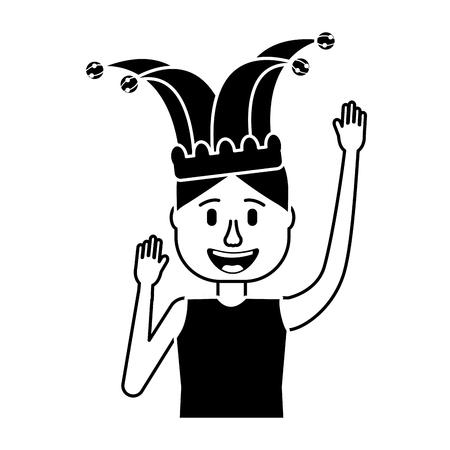 happy man jester hat and crazy glasses portrait vector illustration black and white design Фото со стока - 96618234