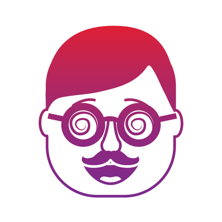 smiling face man mask with glasses mustache vector illustration gradient color image