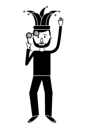 funny man holding silly glasses and jester hat vector illustration black and white design 向量圖像